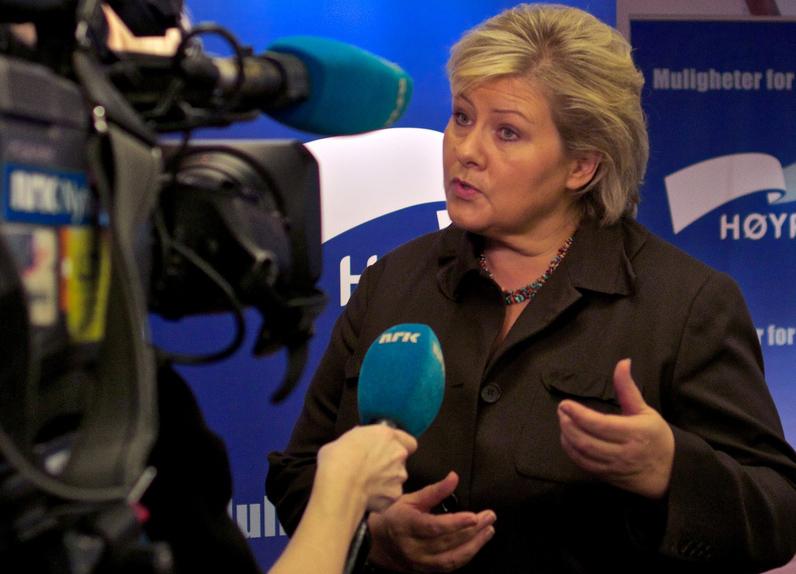 Erna Solberg utmanar i Norge. Foto: Höyre