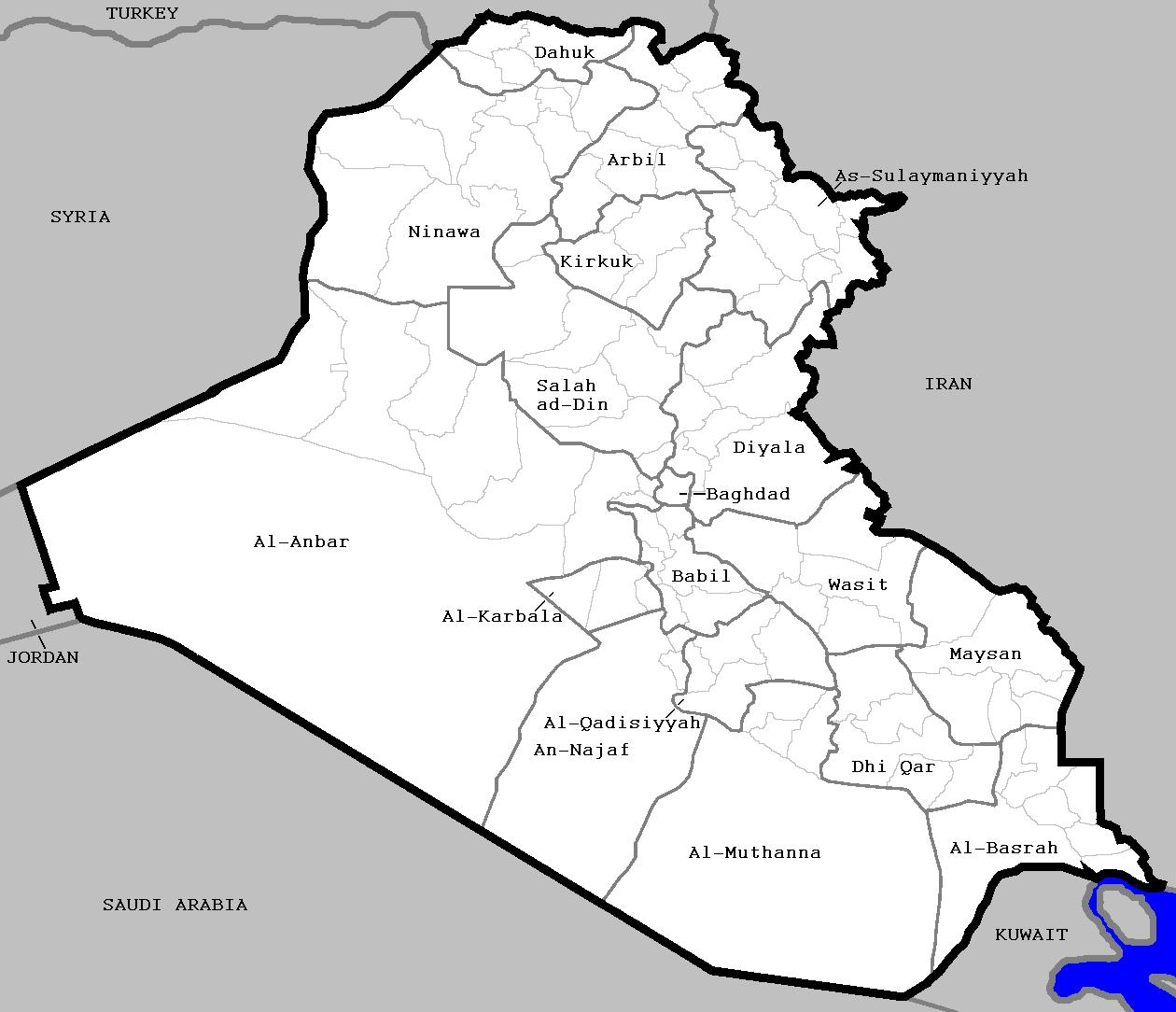 Iraks provinser. Anbarprovinsen gränsar till Syrien.