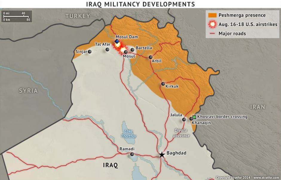 Karta över striderna i norra Irak. Källa: Stratfor.